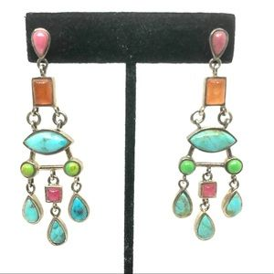 1990s Barse Sterling Gemstone Chandelier Earrings